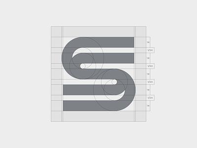 S lines - construction dynamic monogram typography symbol mark branding logo minimal grid construction s logo lines
