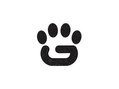 G + Paw (sketch) monogram typography symbol mark branding minimal logo sketch shop dog paw