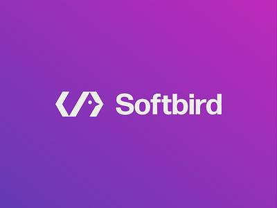 Softbird logo design monogram typography symbol mark branding logo minimal colorful gradient saas developer bird hidden negative space code software