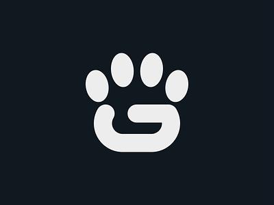 G-Paw design animal pet monogram typography symbol mark logo minimal lettermark branding dog paw g