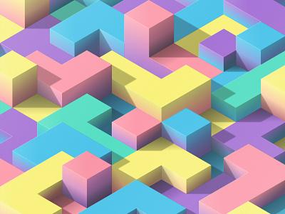 blockland #03 crypto art design no render 3d illusion gradient color blocks vector isometric nft
