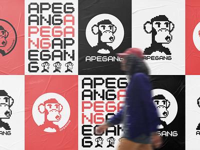 Ape Gang NFT - Logo nft logo grid typography symbol mark branding minimal collection pixel design pixel art nft logo ape gang ape
