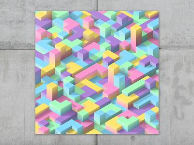 blockland #04 pantone pastel gradient color minimal vector design etherum token crypto nft-art nft blockland isometric blocks isometric art vector isometric