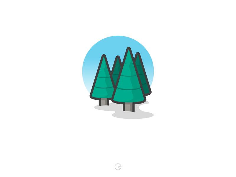 Fir trees affinity designer illustration minimal vector tree fir