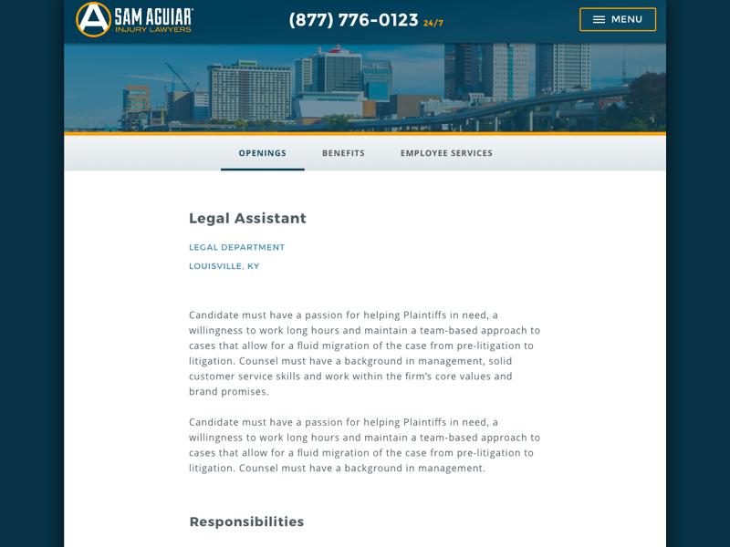Careers Section ui sketch web design responsive