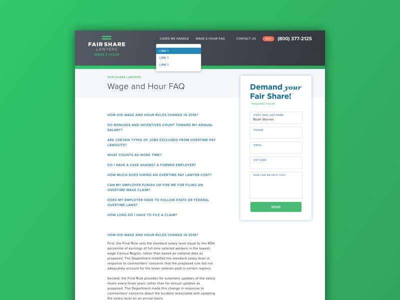 Subpage sketch responsive ux ui web design