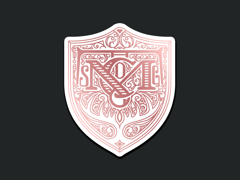 Family Crest sticker swirls heritage catalina cata logo blazon antlers lettering monogram rose gold