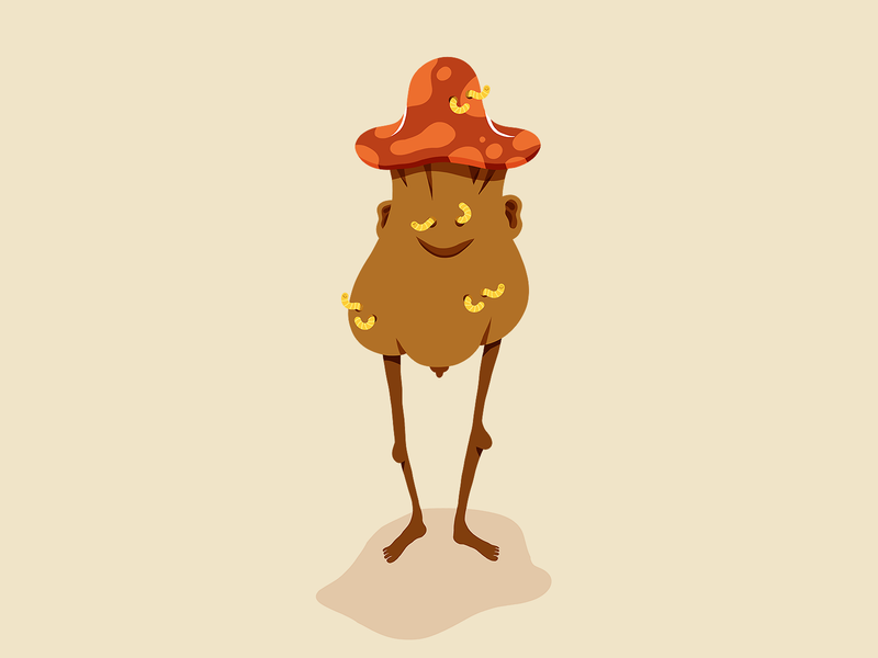 Wormy Mushroom mushrooms character illustration