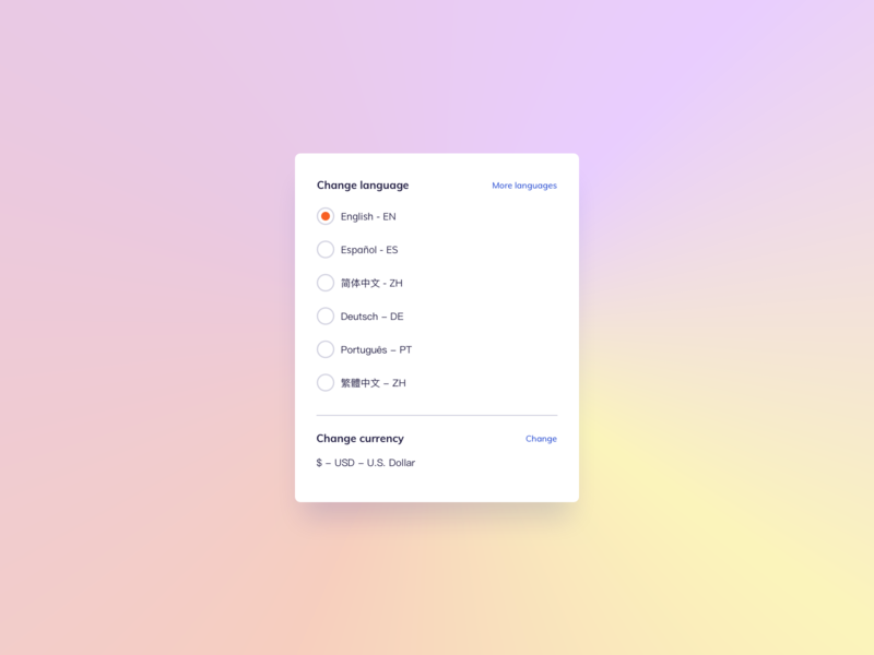 Language Settings UI Design