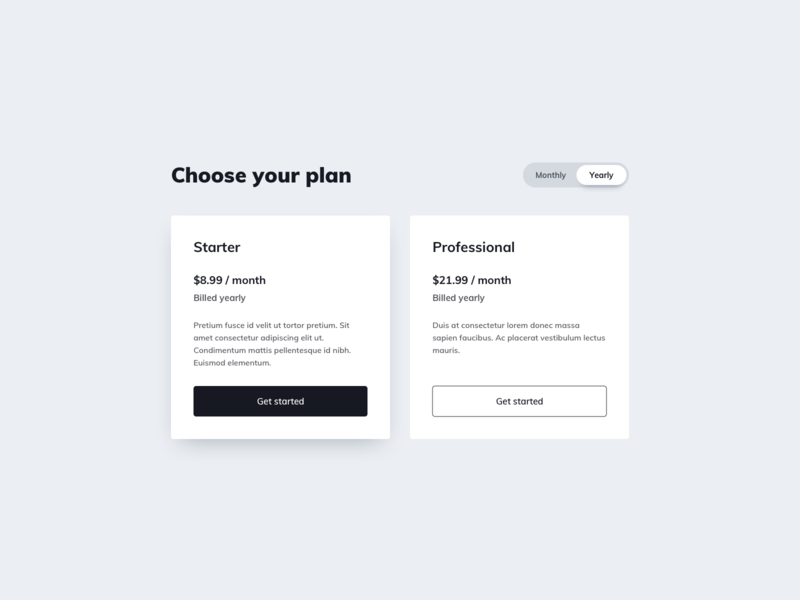 Pricing UI Design