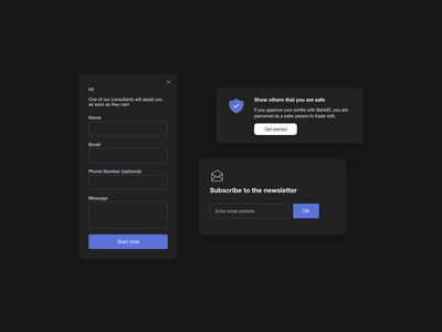 Dark UI Components ui pattern ux design ui  ux ui design daily ildiesign dark ui dark theme card subscribe ui subscribe uidesign message chat box chatbot contact sign up ui design ux ui
