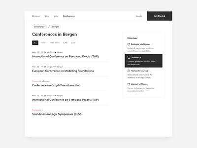 Conferences Page UI Design website concept website design website page ui kit ui practice daily ui dailyui ui pattern ux design ui design ildiesign ux ui