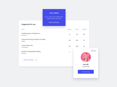 UI Components Design ui design daily ildiesign ui kit ui components profile ui profile design profile card profile table ui table