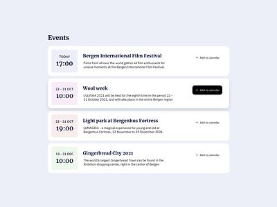 Events List UI Design ui design daily events list design list design list ui free ui component free ui design free ui event list ui events