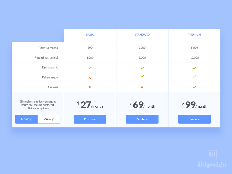 Pricing table ui design by ildiko ignacz dribbble for Table design jquery ui