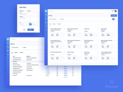 Invoice Items UI Design ildiesign ux ui ui pattern invoice tool invoice