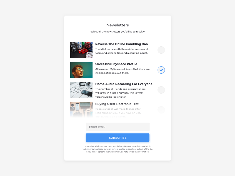Newsletters List UI Design ui pattern list newsletter daily ui practice ux design ui design ux ui