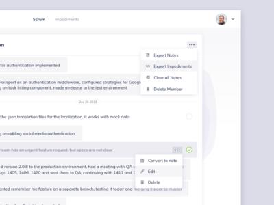 Scrumbs Options Dropdown UI Design