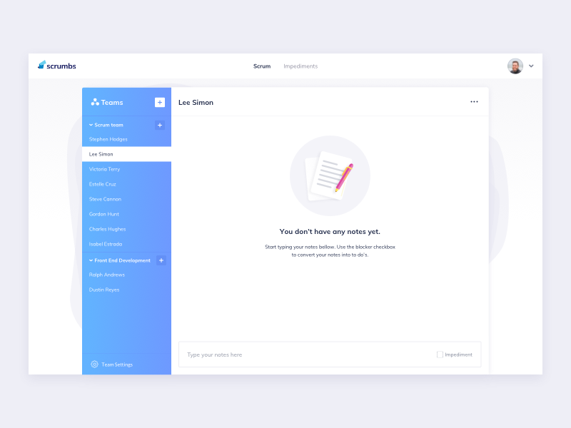 Scrumbs Notes Empty State scrumbs notes ui notes empty states interface design ui kit management ui practice daily ui dailyui ui pattern ildiko ignacz ux design ui design ildiesign ux ui