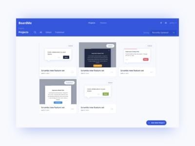 Boardme Projects Page UI Design