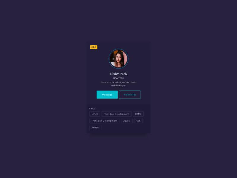 Profile Card UI Design ui pattern ildiko ignacz ux design ui design ildiesign ux ui