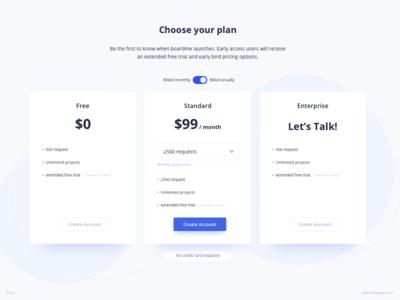 Pricing Table UI Design | Boardme