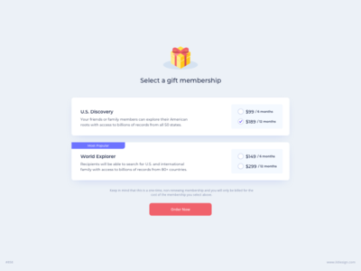 Gift Membership UI Design