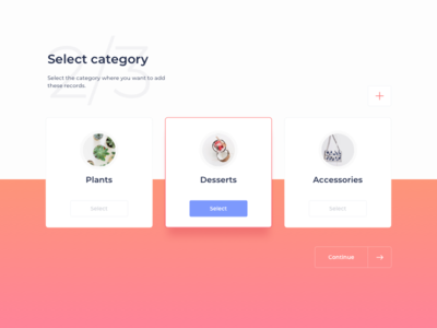 Select Category UI Design