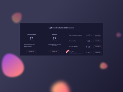 Optional Features UI Design daily ui dailyui ui pattern ux design ui design uidesigndaily ildiesign ui component dark component dark ui dark them ui add to card features options pricing dark theme