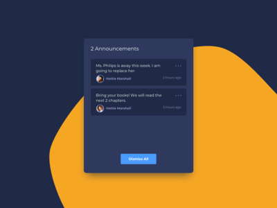 Announcements Panel UI Design