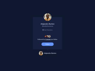User Card UI Design - dark theme