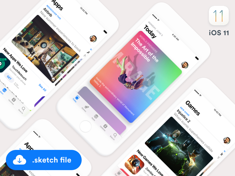 iOS11 App Store GUI (Sketch freebie) app store cards games apps ui gui sketch ios ios11 freebie