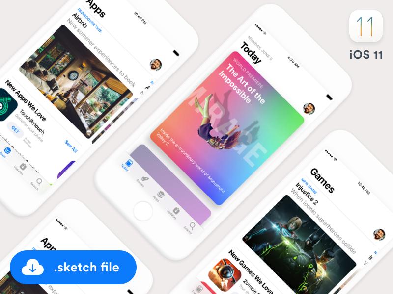 iOS11 App Store GUI (Sketch freebie) app store cards games apps ui gui sketch ios ios11 freebie