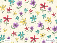 Watercolor & Gouache Seamless Stylized Floral Pattern