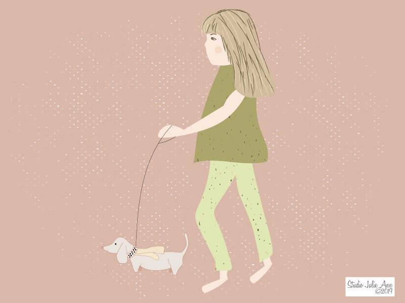 Walk The Dog digital illustration editorial illustration stylized dog animal pencil drawing faces illustration digital painting