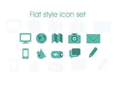 Flat Style Icon Set icon set flat style