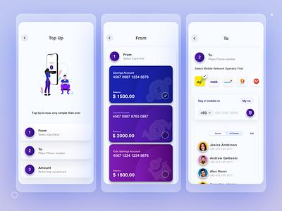 Top up process for bank part 1 topup widgets bank ui bank account bank card bankapp banking app bank ui ux simple clean