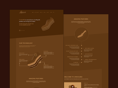 Unisolebd Home website  creative working process feature infographic landing page minimal clean product ui interface shoe