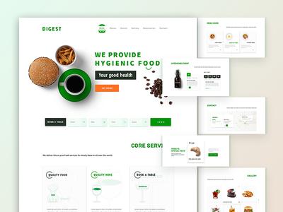 Digest Restaurant website creative order now ux minimal. ui clean hero  slider home restaurant digest