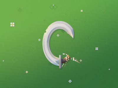 Letter a Day - C riotvisualdesign skeleton letter typography vector sword