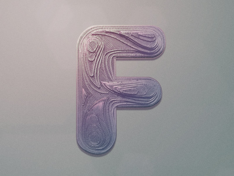 Letter a Day - F riotvisualdesign 3d print dropcap letter