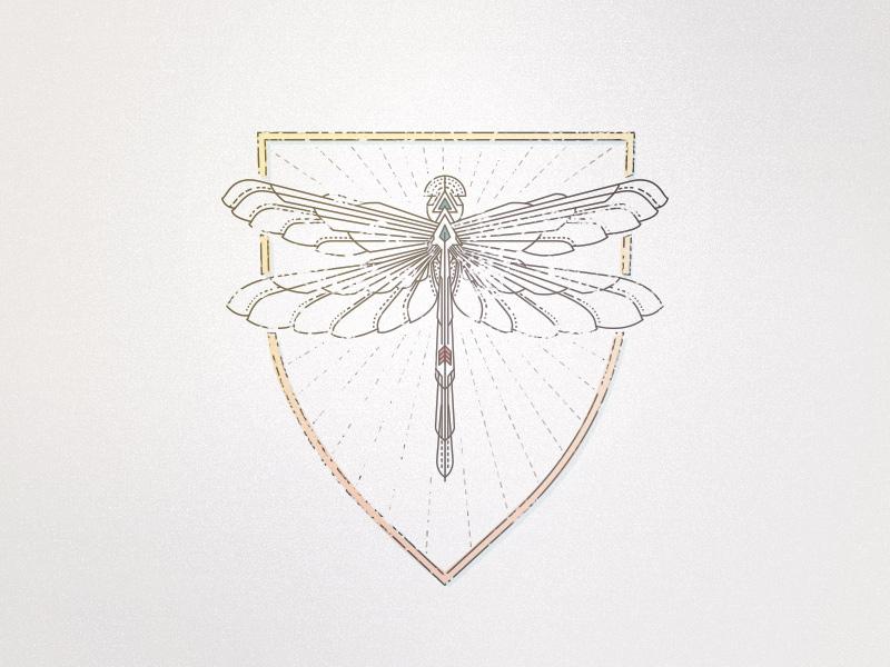 Dragonfly V2 crest monoline mark logo illustration dragonfly