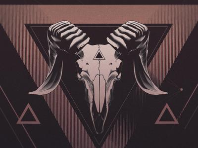 Memorial to a Sheep artshow poster simple vector skull