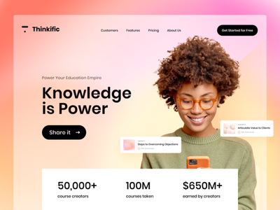 Thinkific Knowledge is power, Share it design modern daily ui user interface web design ui