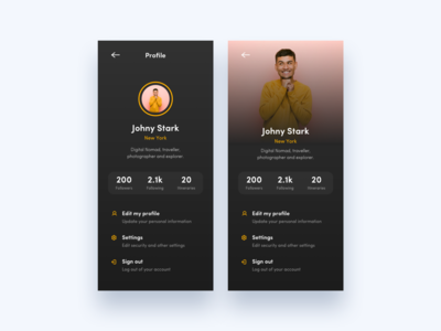 Profile Page Exploration Dark Theme