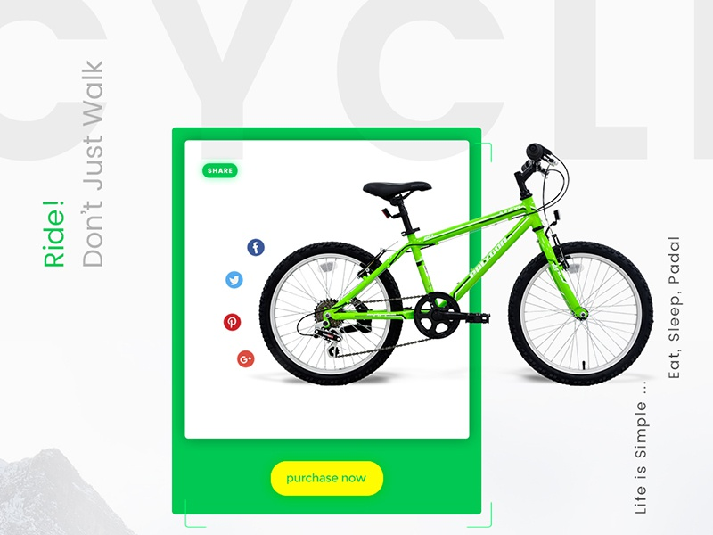 Cycle Product UI Design trending design awesome design yellow green ui clean design template product page