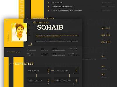 Resume Uifuse Dribbble typography cv vitae curriculum resume yellow and black