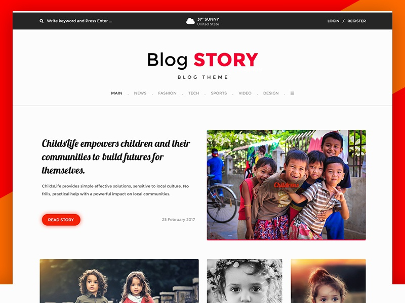 Blog Design website web typo post minimalistic images header content comment blog article