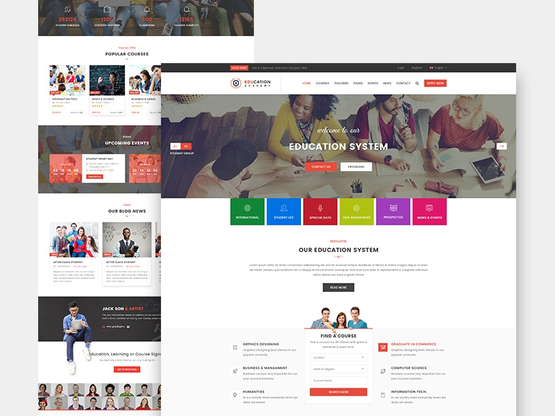 Education One Page Website Shot typo buttons events courses blog inspiration education website colorful simple clean website