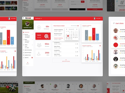 Soccer Project presentation users panel creative red dashboard soccer